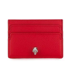 Alexander McQueen Red Skull Card Holder Wallet